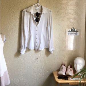 Bebe Kardashian line white silk buttom up low cut